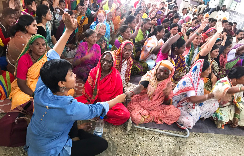 Sandhya working with local women