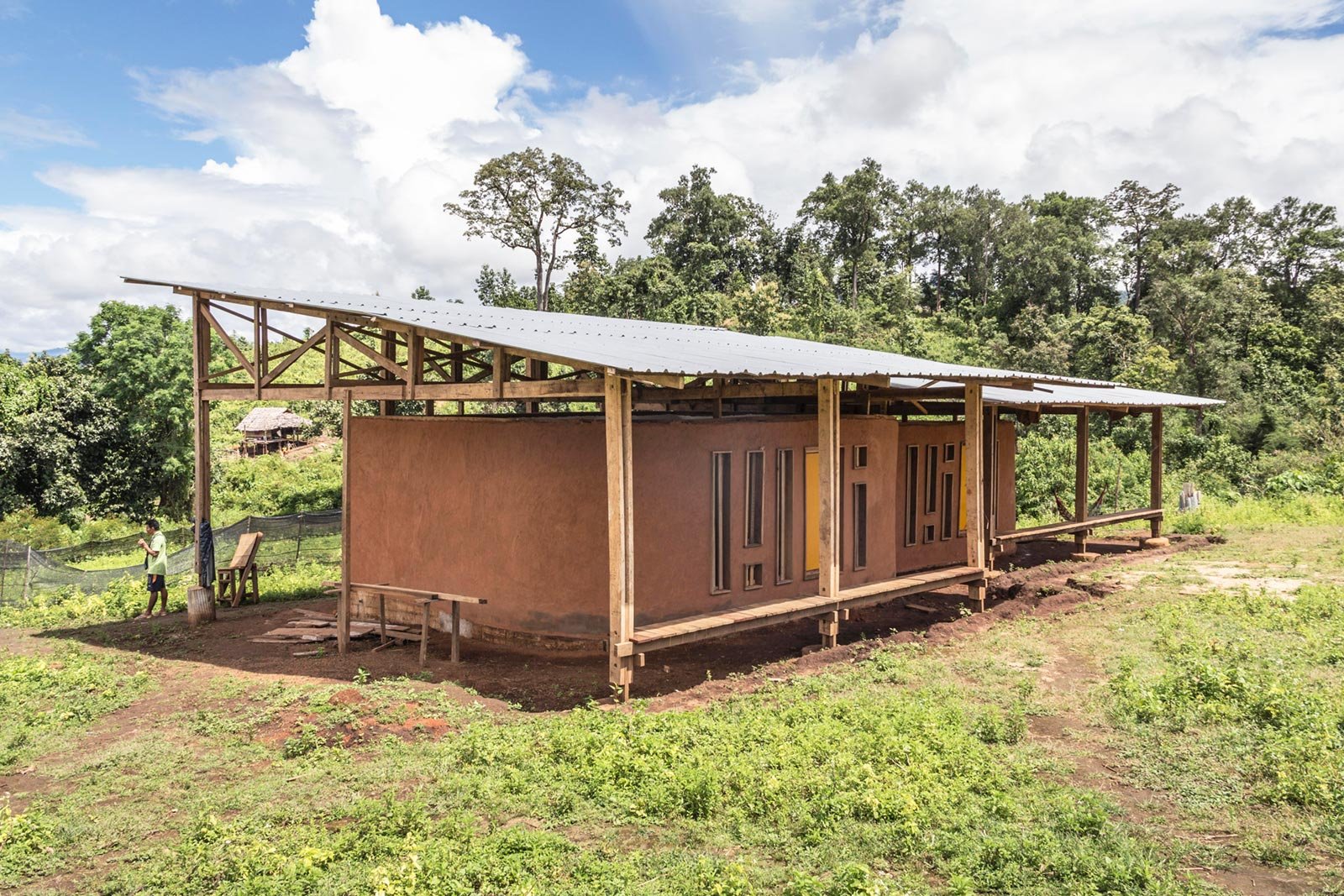Gaw La Heh Primary School, the first two classrooms are completed. (Burma) —photo by Line Ramstad