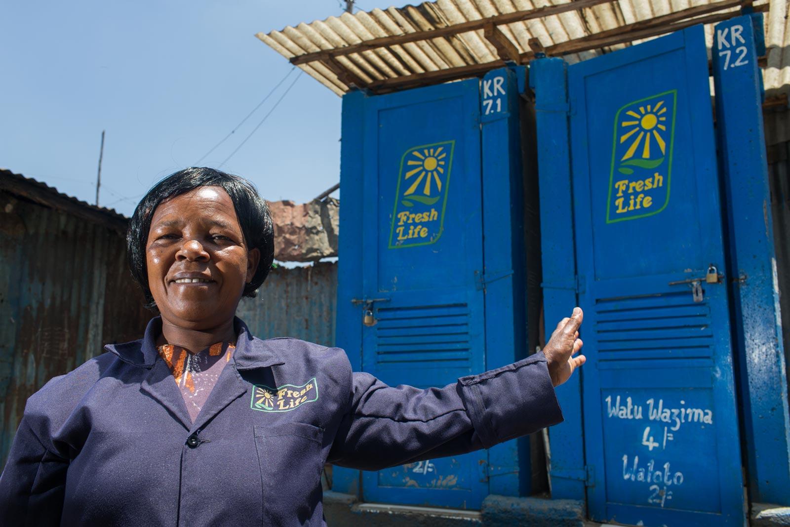 Fresh Life Operator Esther Munyiva has run her Fresh Life Toilets in Mukuru kwa Reuben slum since 2012. She is one of over 400 Fresh Life Operators running Fresh Life Toilets throughout Nairobi's informal settlements. Image Credit: Will Swanson